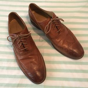 Cole Haan Grand.OS Tan Leather Wingtip Oxford Shoe